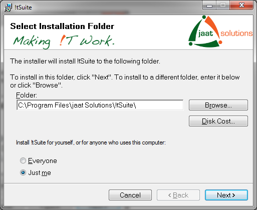 !tSuite select installation folder